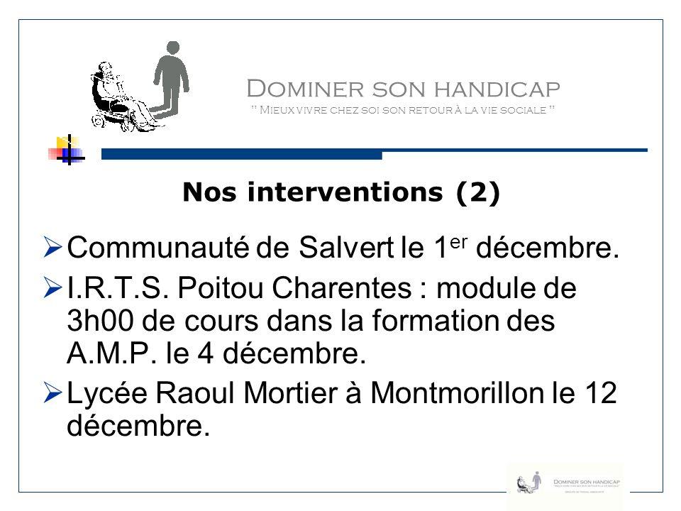 Communauté de Salvert le 1er décembre.