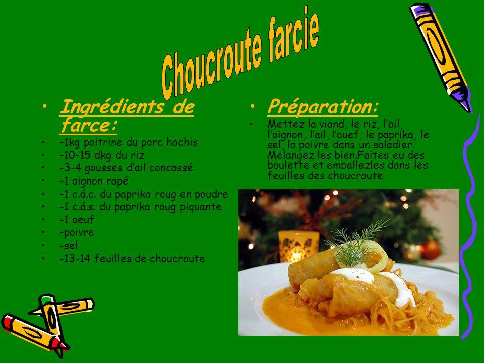 Ingrédients de farce: Préparation: Choucroute farcie