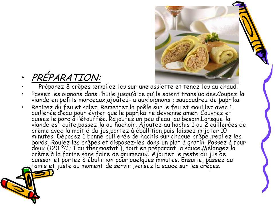 PRÉPARATION: Préparez 8 crêpes ;empilez-les sur une assiette et tenez-les au chaud.