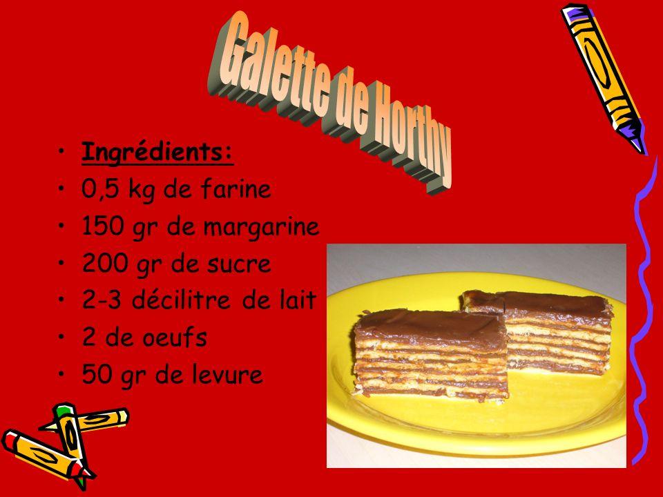 Galette de Horthy Ingrédients: 0,5 kg de farine 150 gr de margarine