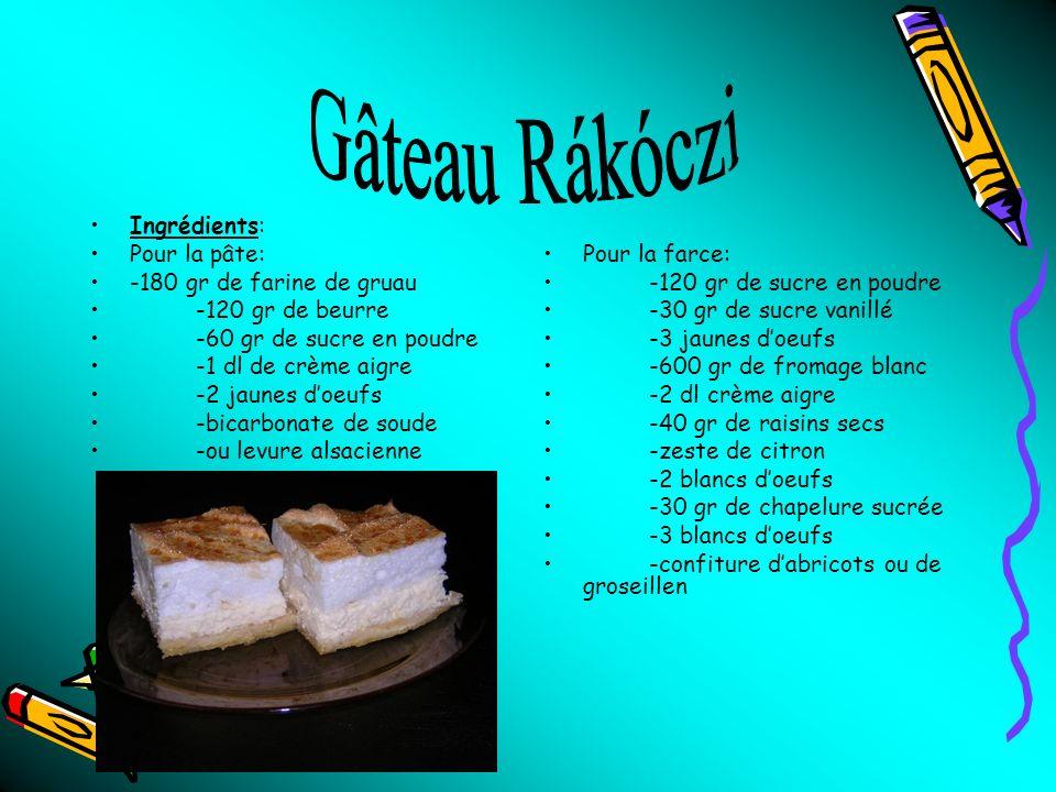 Gâteau Rákóczi Ingrédients: Pour la pâte: -180 gr de farine de gruau