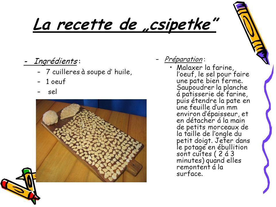 "La recette de ""csipetke"