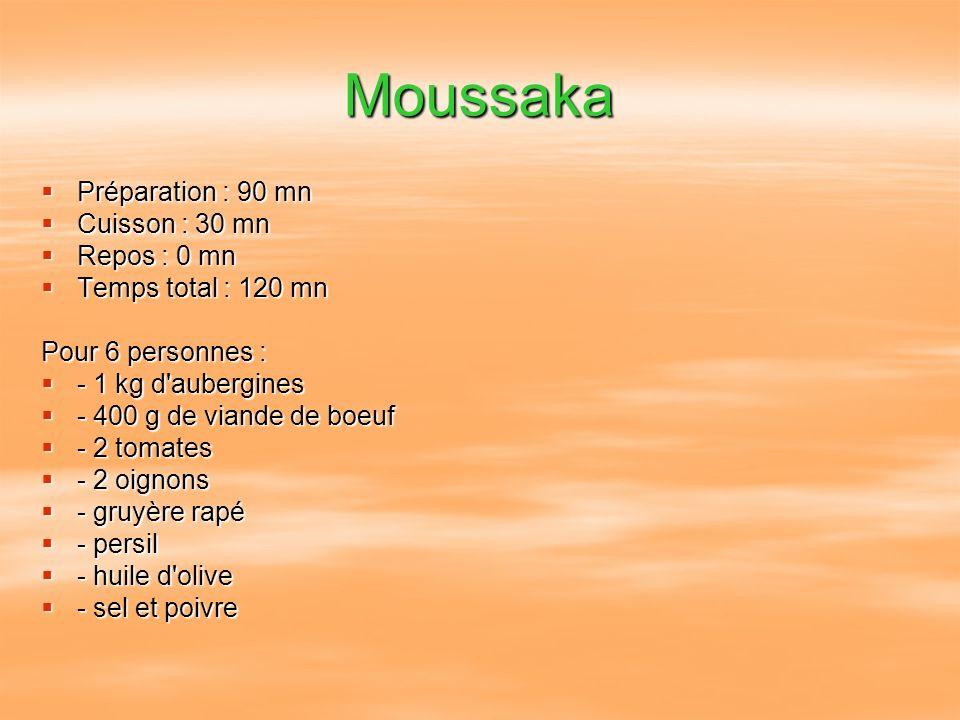 Moussaka Préparation : 90 mn Cuisson : 30 mn Repos : 0 mn