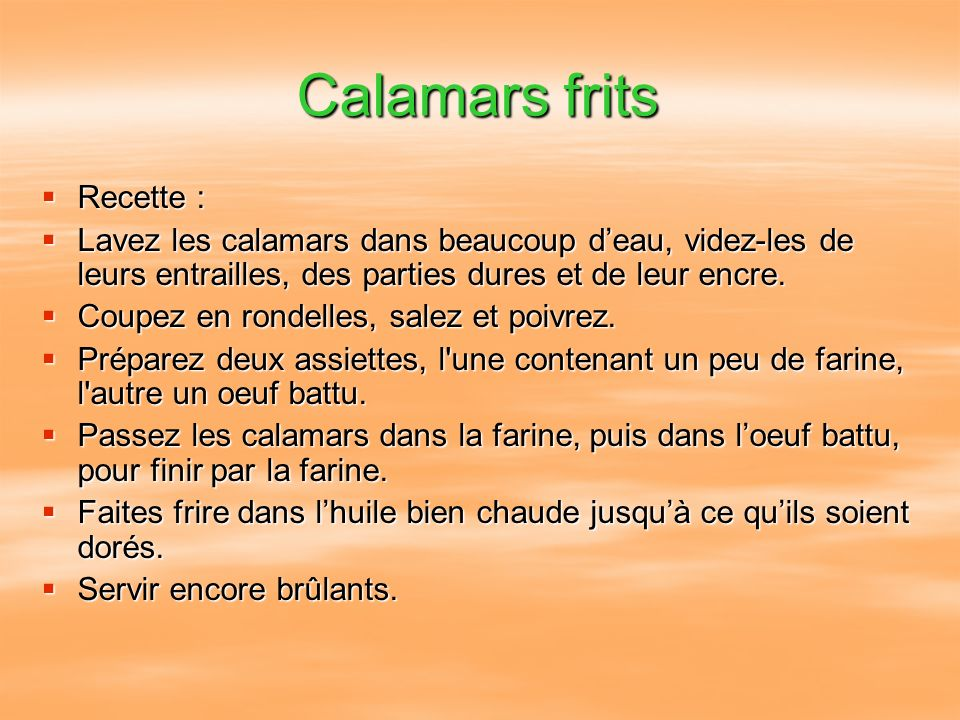 Calamars frits Recette :