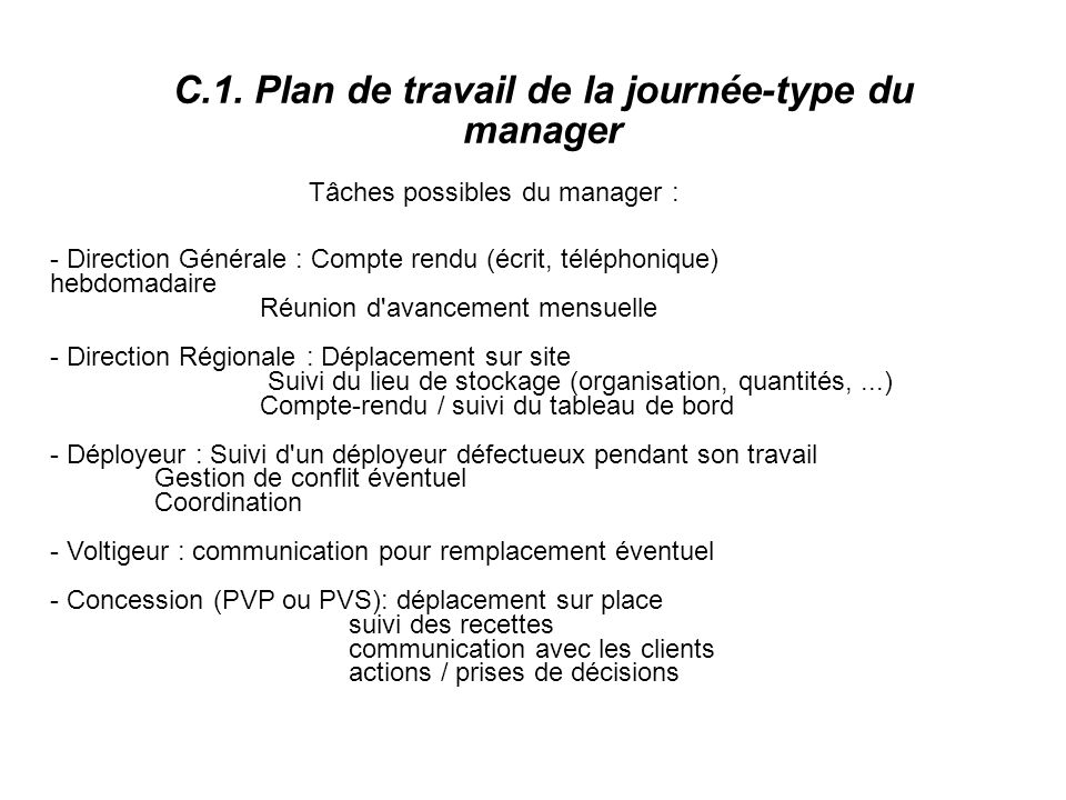C.1. Plan de travail de la journée-type du manager
