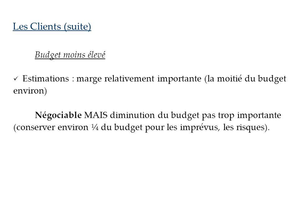 Les Clients (suite) Budget moins élevé.  Estimations : marge relativement importante (la moitié du budget environ)