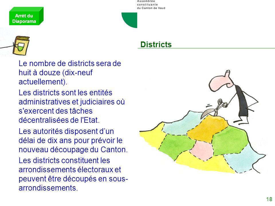 Le nombre de districts sera de huit à douze (dix-neuf actuellement).