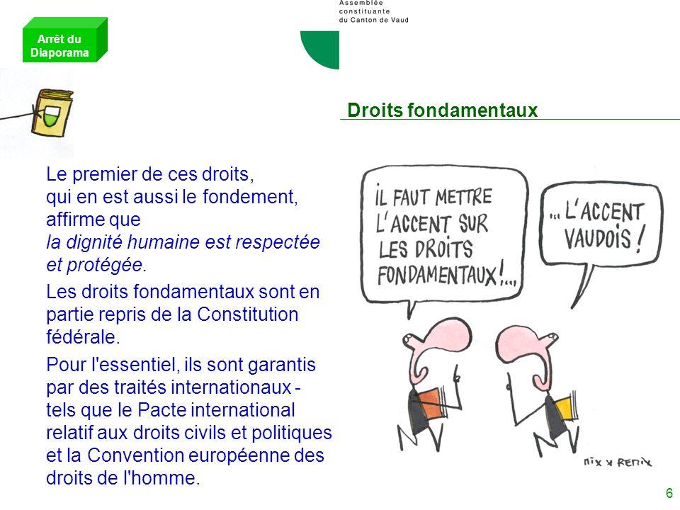 Arrêt du Diaporama Droits fondamentaux.