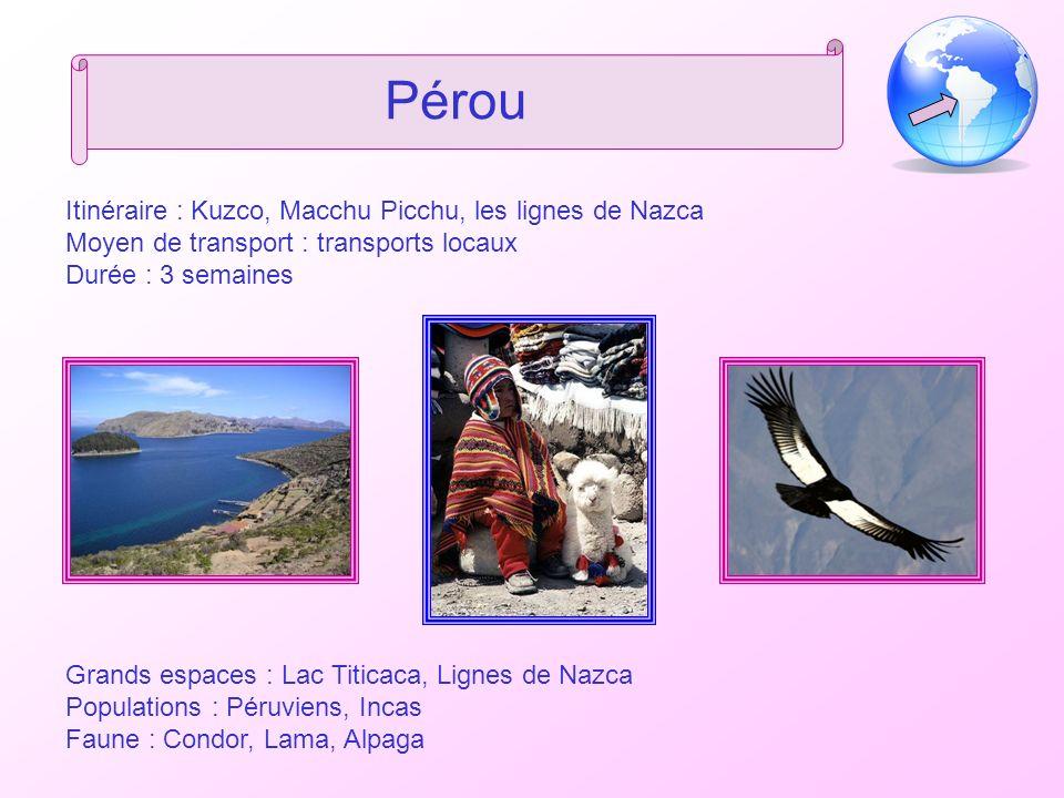 Pérou Itinéraire : Kuzco, Macchu Picchu, les lignes de Nazca