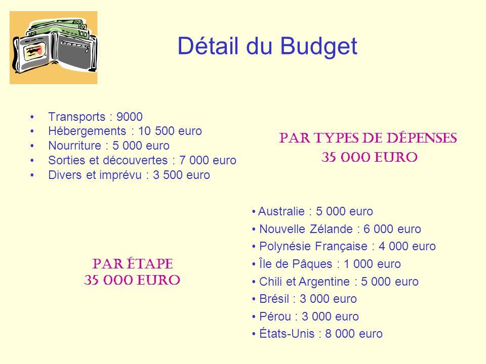Détail du Budget Par types de dépenses 35 000 euro Par étape