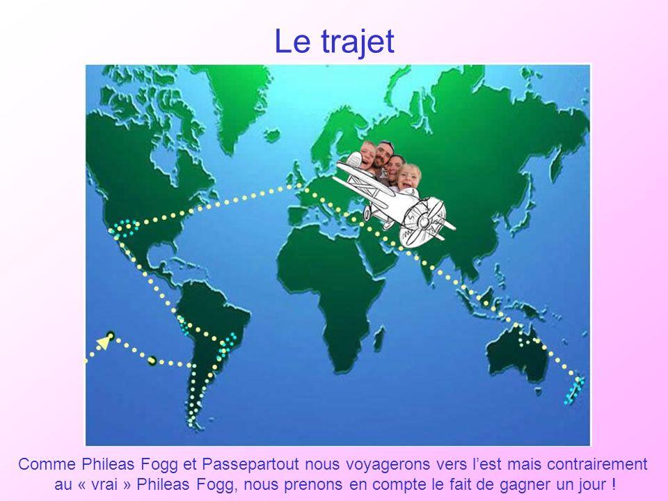 Le trajet Comme Phileas Fogg et Passepartout nous voyagerons vers l'est mais contrairement.