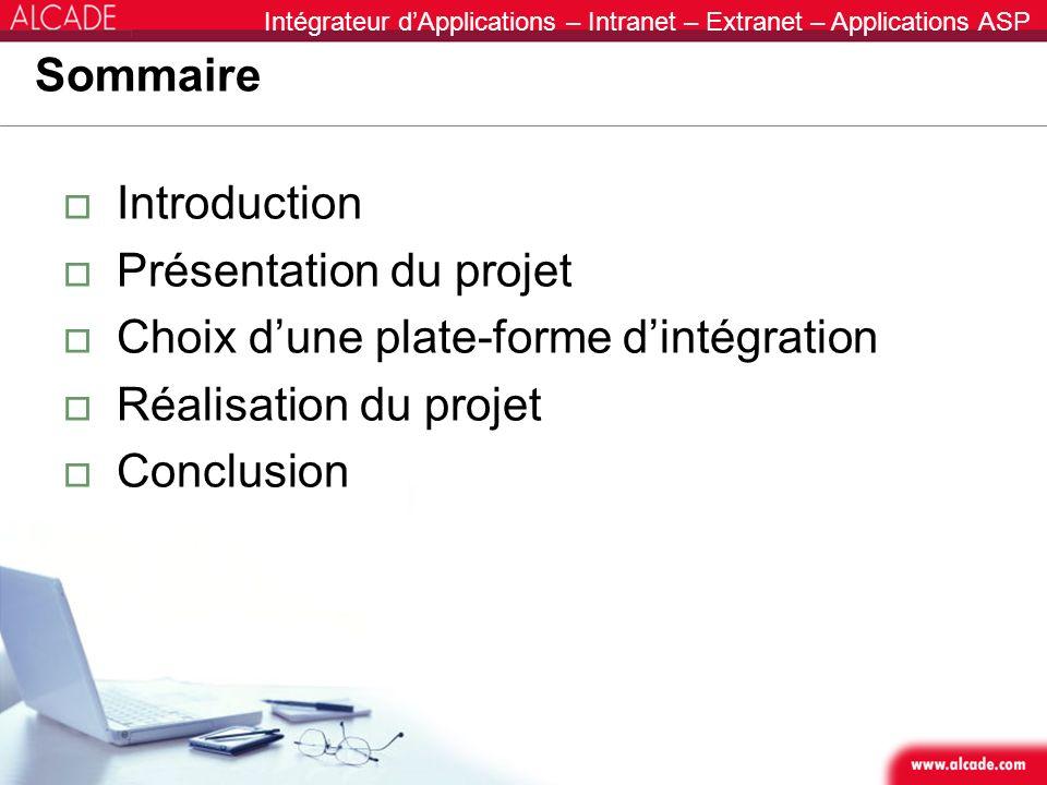 SommaireIntroduction. Présentation du projet. Choix d'une plate-forme d'intégration. Réalisation du projet.