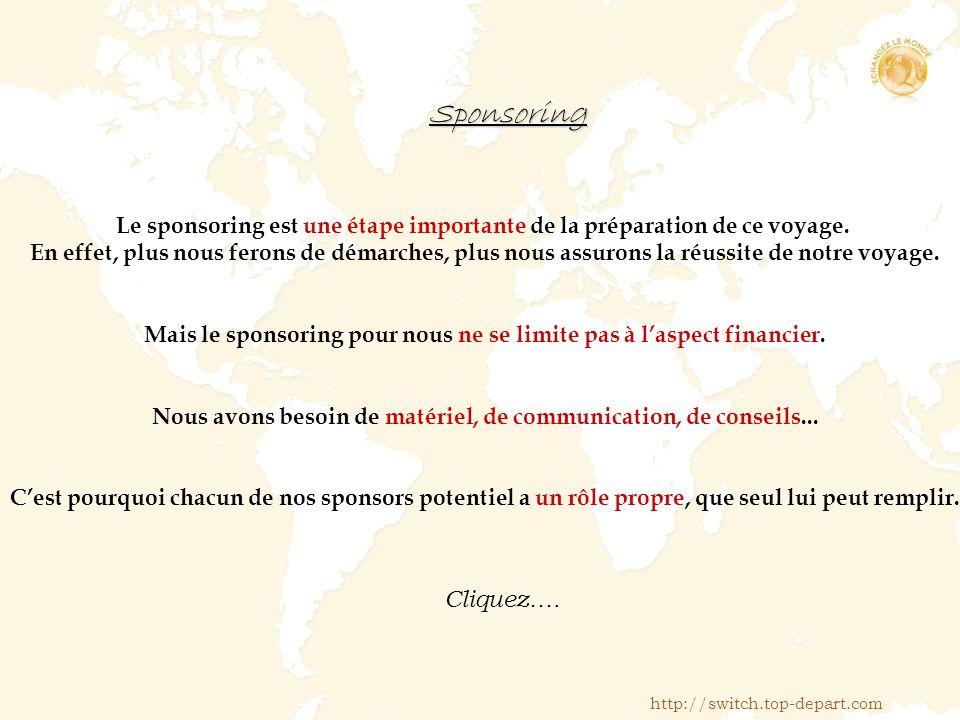 Sponsoring Le sponsoring est une étape importante de la préparation de ce voyage.