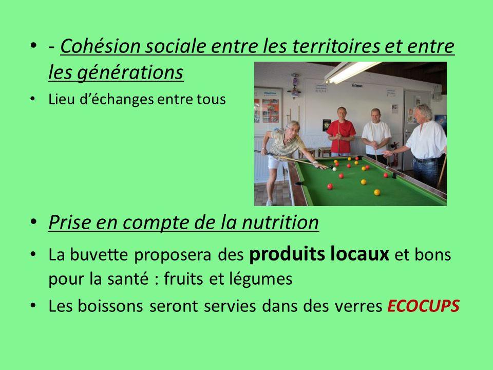 - Cohésion sociale entre les territoires et entre les générations