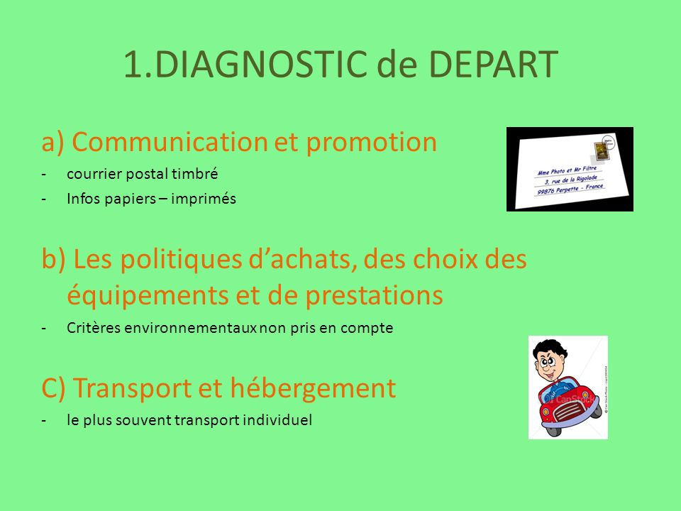 1.DIAGNOSTIC de DEPART a) Communication et promotion