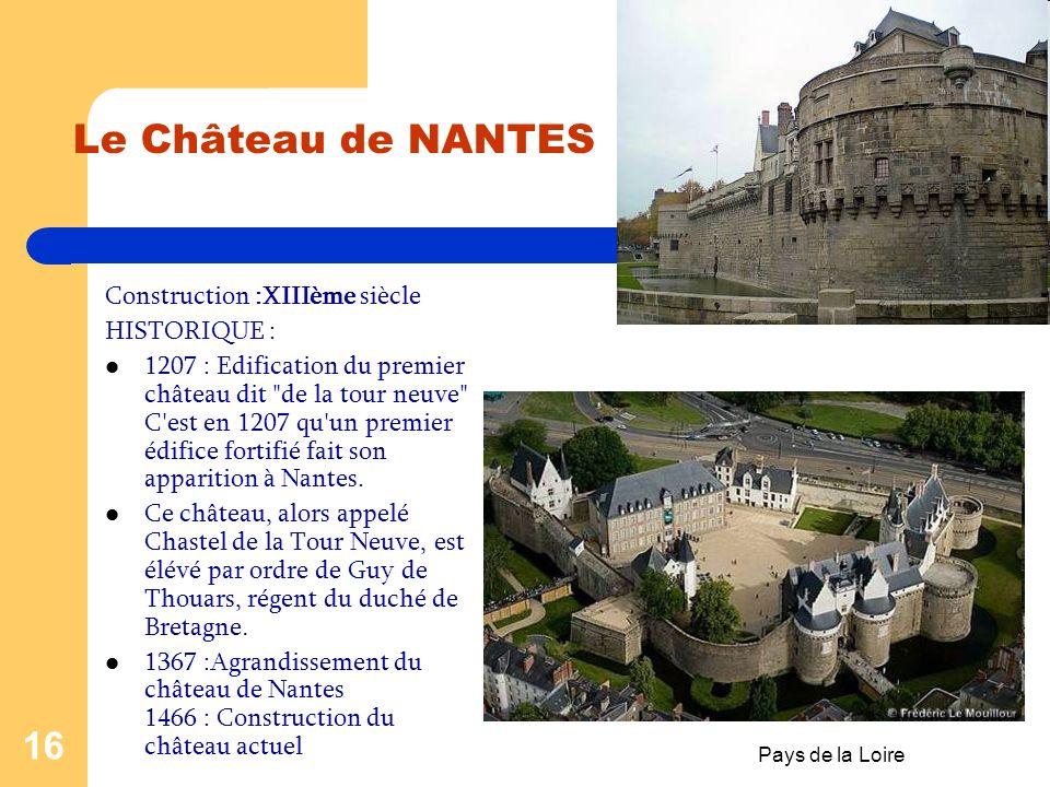 Le Château de NANTES Construction :XIIIème siècle HISTORIQUE :