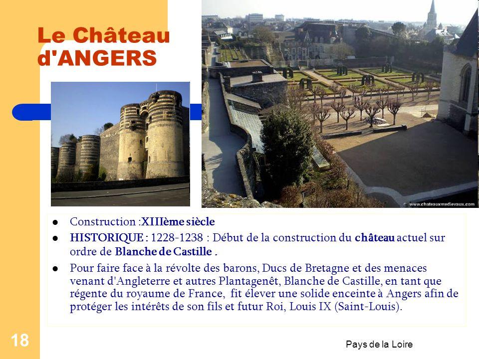 Le Château d ANGERS Construction :XIIIème siècle