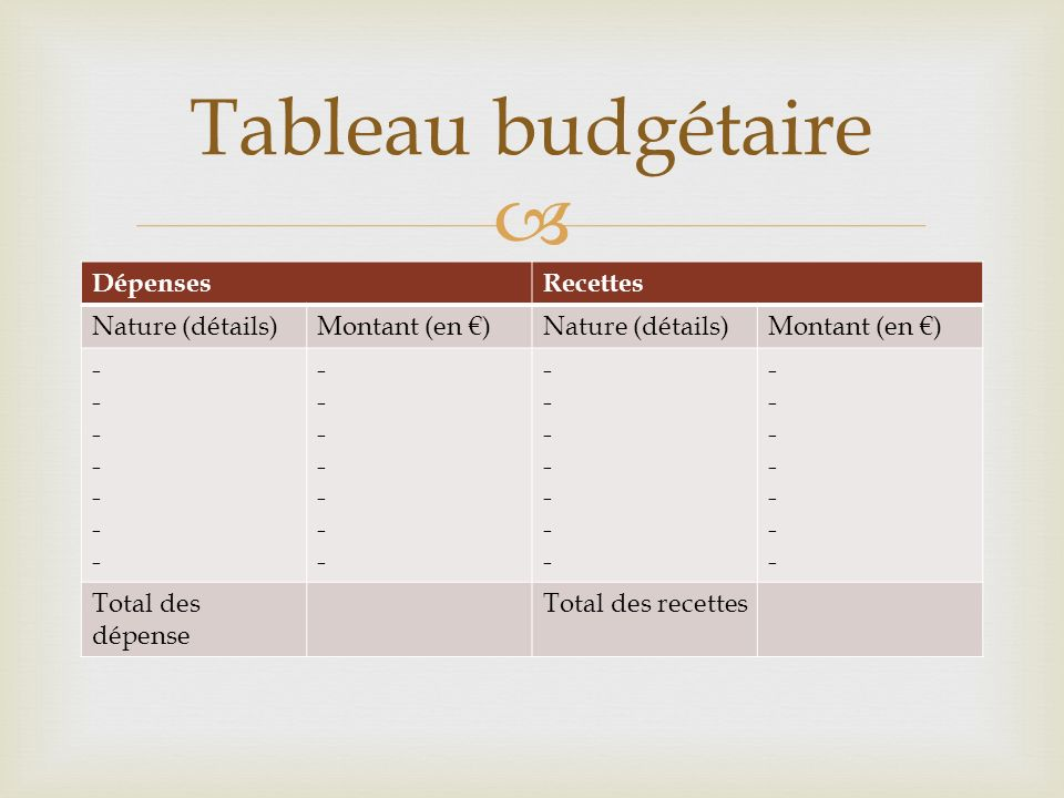 Tableau budgétaire Dépenses Recettes Nature (détails) Montant (en €) -