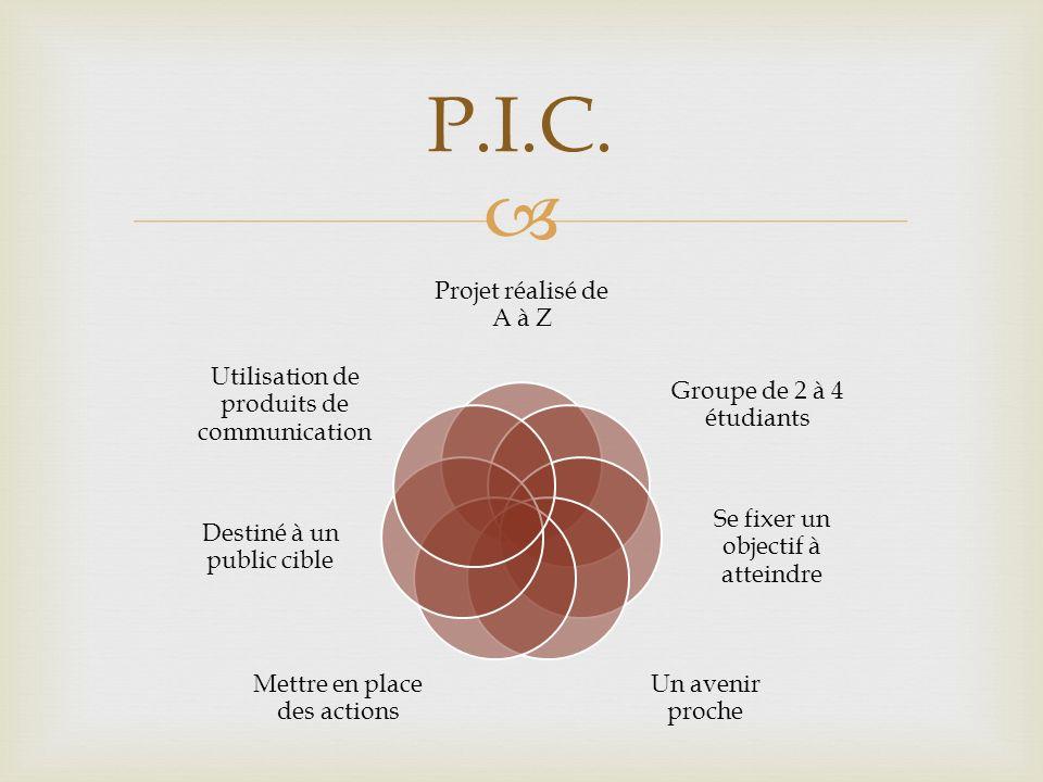 P.I.C. Projet réalisé de A à Z Groupe de 2 à 4 étudiants