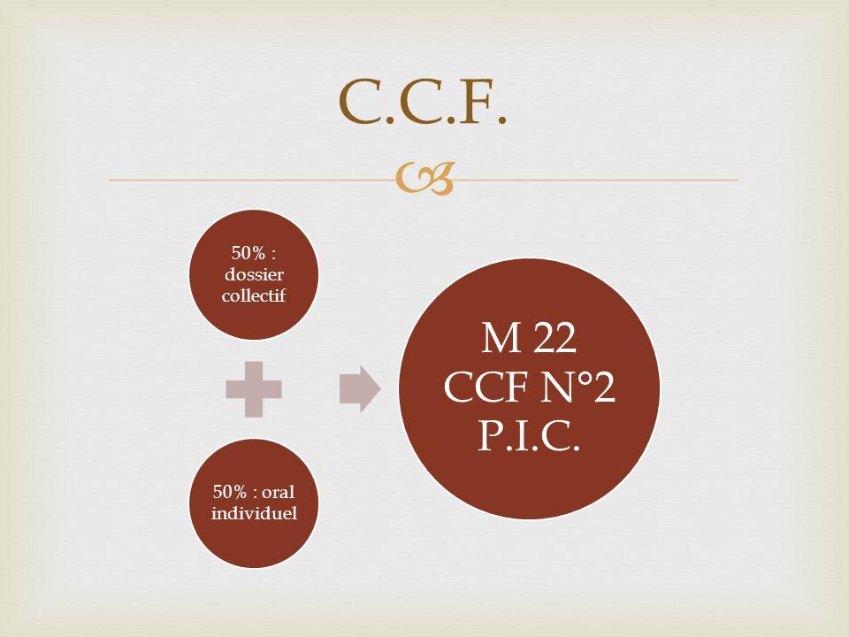 C.C.F. M 22 CCF N°2 P.I.C. 50% : dossier collectif