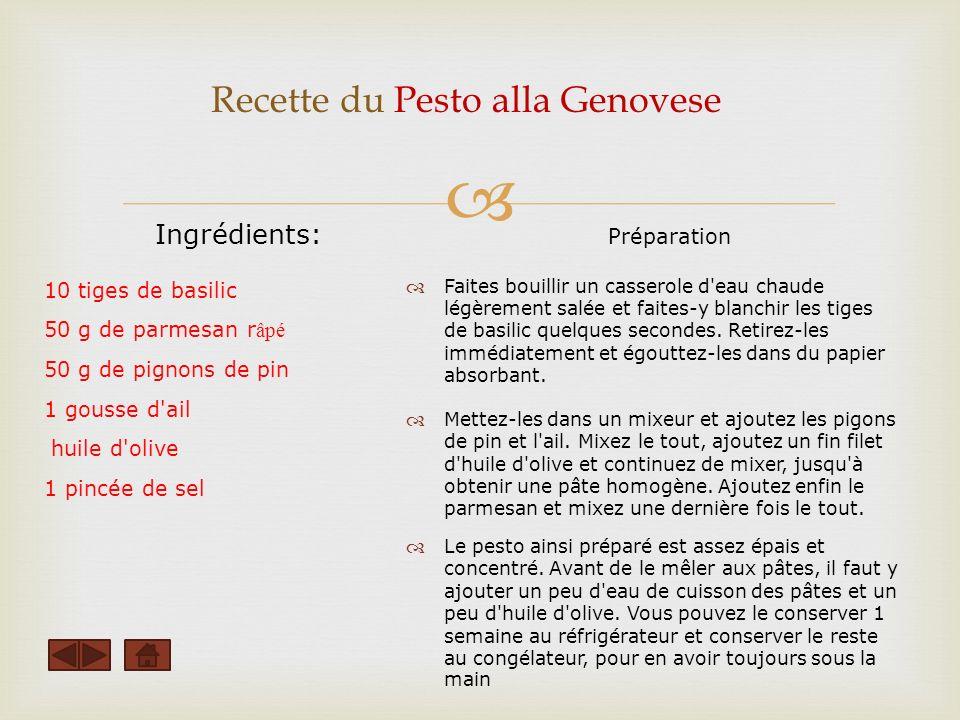 Recette du Pesto alla Genovese