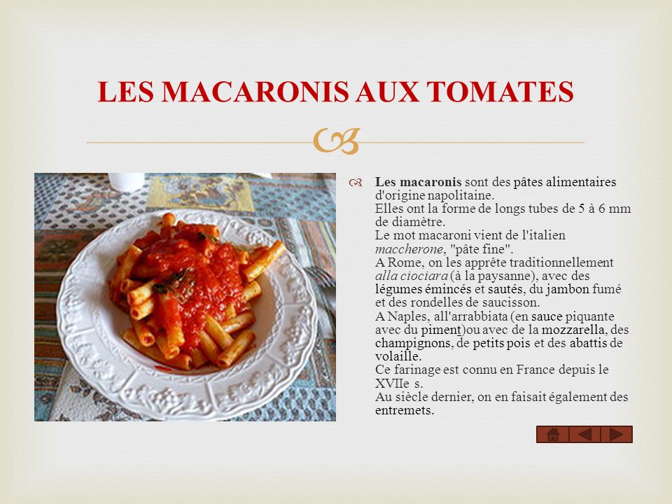 LES MACARONIS AUX TOMATES