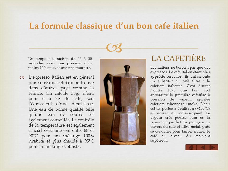 La formule classique d'un bon cafe italien
