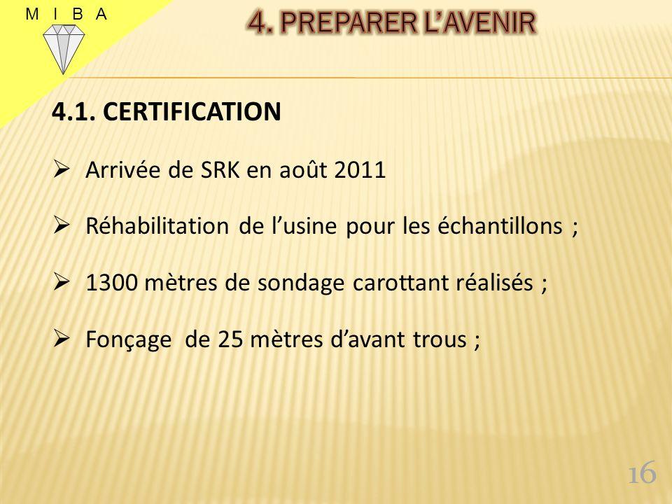 16 4. PREPARER L'AVENIR 4.1. CERTIFICATION Arrivée de SRK en août 2011