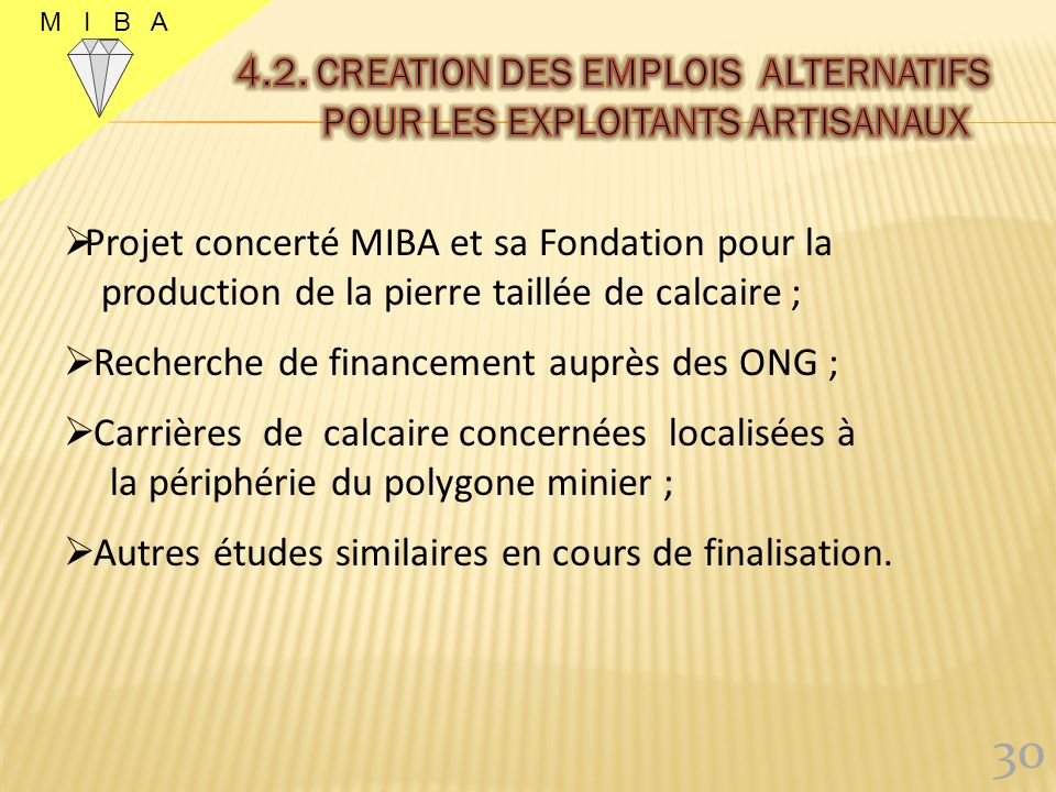4.2. creation DES EMPLOIS ALTERNATIFS POUR LES EXPLOITANTS ARTISANAUX