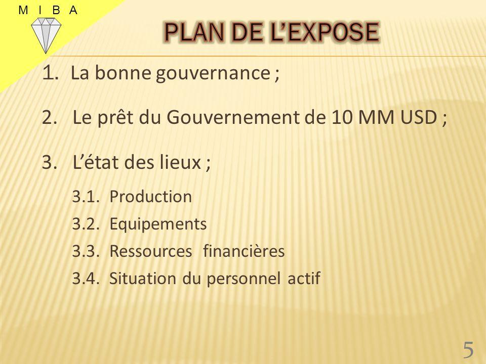 PLAN DE L'EXPOSE 5 1. La bonne gouvernance ;