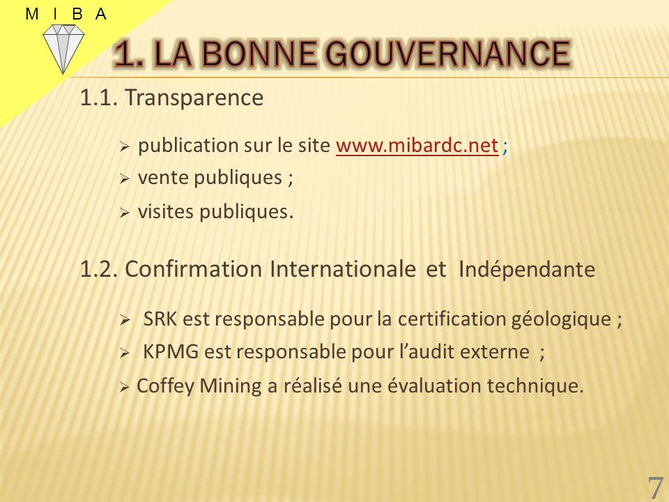 1. LA BONNE GOUVERNANCE 7 1.1. Transparence