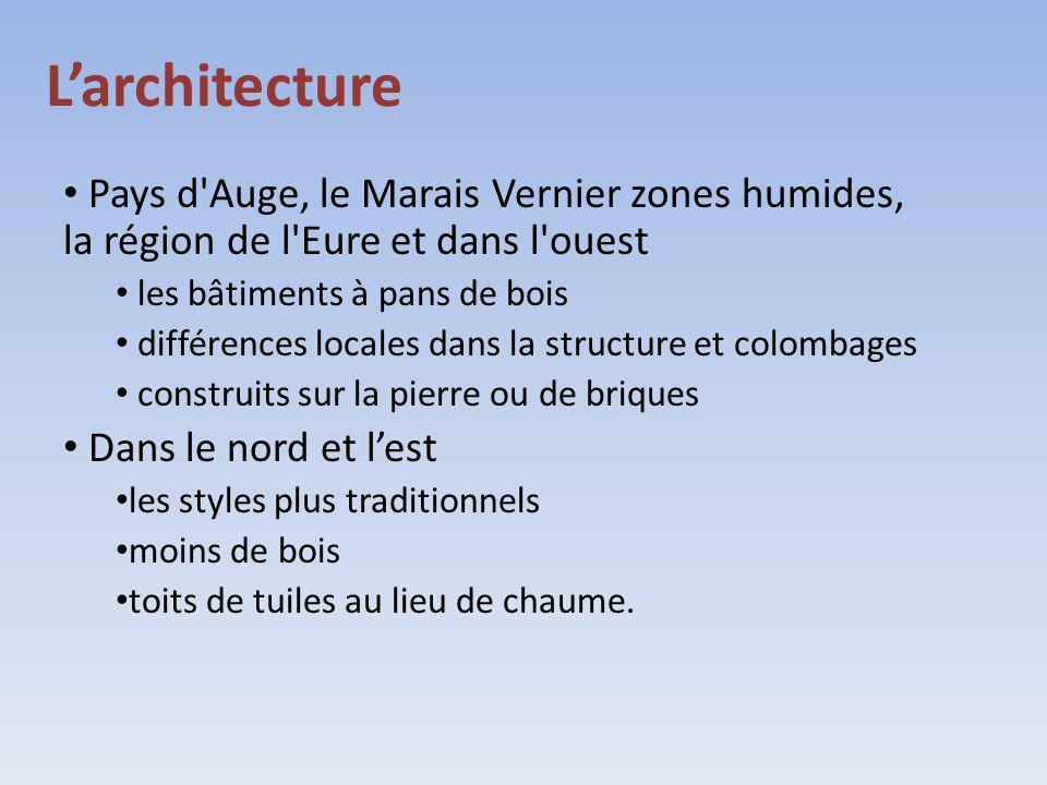 L'architecture Pays d Auge, le Marais Vernier zones humides, la région de l Eure et dans l ouest. les bâtiments à pans de bois.