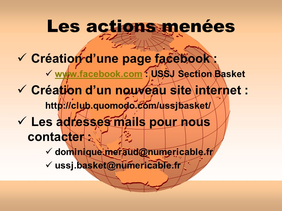 Les actions menées Création d'une page facebook :