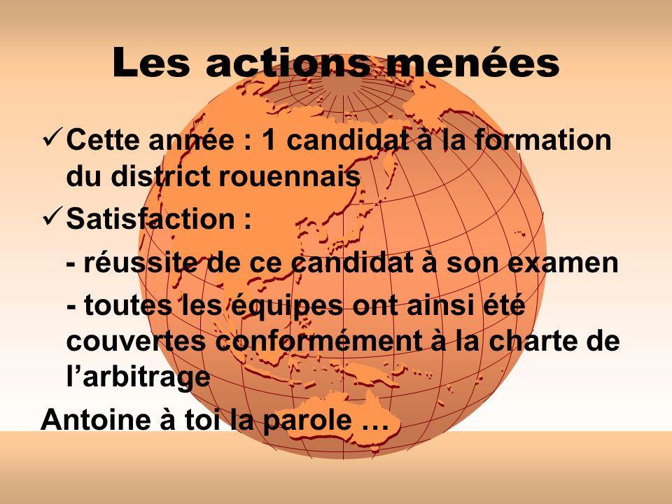 Les actions menées Cette année : 1 candidat à la formation du district rouennais. Satisfaction : - réussite de ce candidat à son examen.