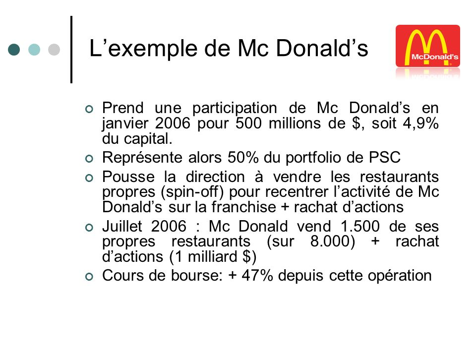 L'exemple de Mc Donald's