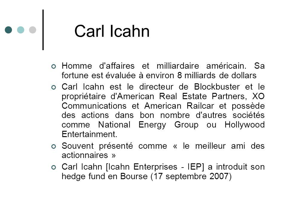 Carl Icahn Homme d affaires et milliardaire américain. Sa fortune est évaluée à environ 8 milliards de dollars.