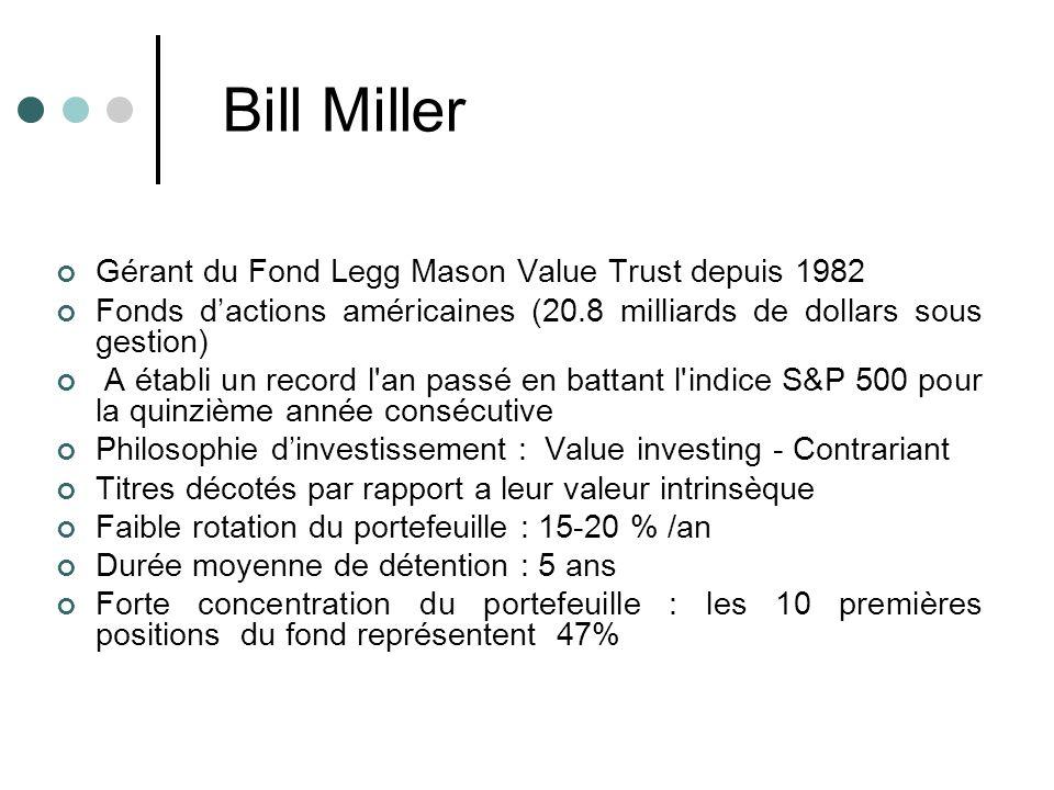 Bill Miller Gérant du Fond Legg Mason Value Trust depuis 1982
