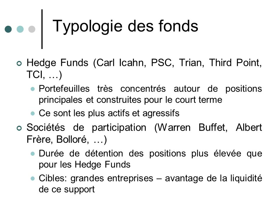 Typologie des fonds Hedge Funds (Carl Icahn, PSC, Trian, Third Point, TCI, …)