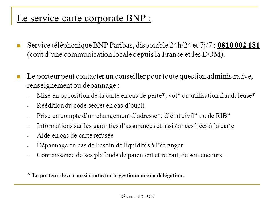 Le service carte corporate BNP :