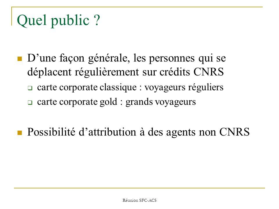 Quel public D'une façon générale, les personnes qui se déplacent régulièrement sur crédits CNRS. carte corporate classique : voyageurs réguliers.