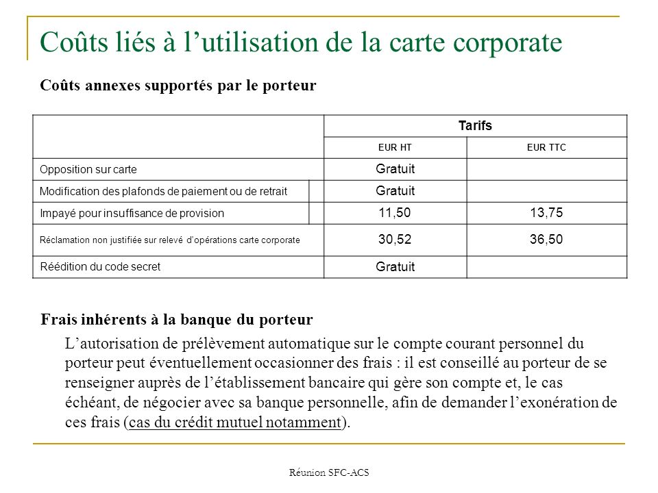 Coûts liés à l'utilisation de la carte corporate Coûts annexes supportés par le porteur