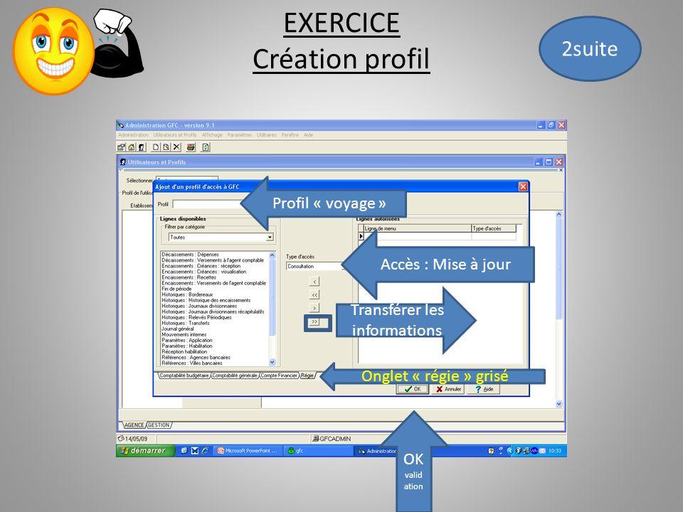 EXERCICE Création profil