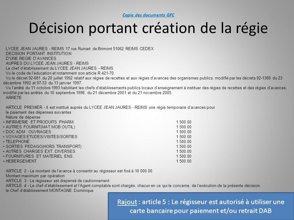 Copie des documents GFC Décision portant création de la régie