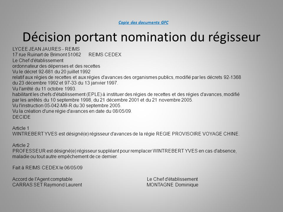 Copie des documents GFC Décision portant nomination du régisseur