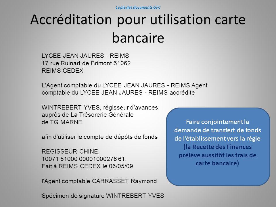 Copie des documents GFC Accréditation pour utilisation carte bancaire