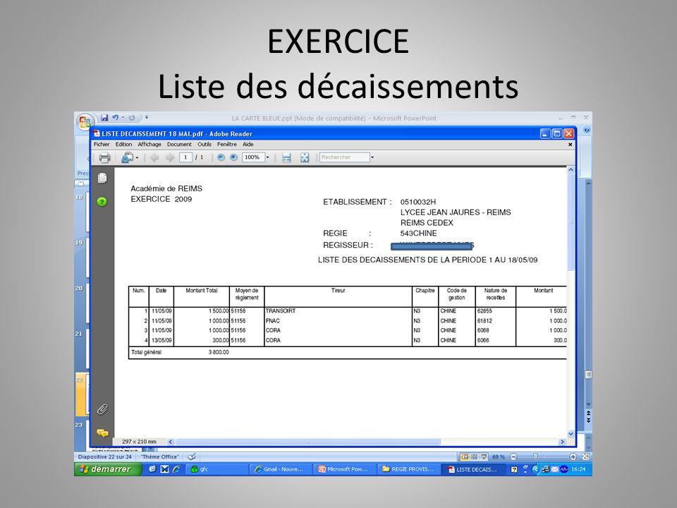 EXERCICE Liste des décaissements