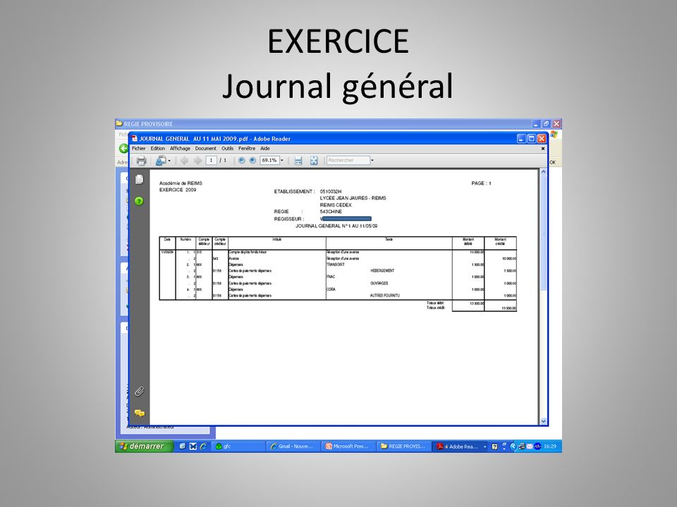 EXERCICE Journal général