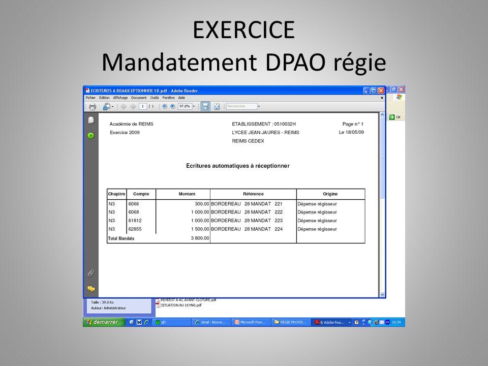 EXERCICE Mandatement DPAO régie