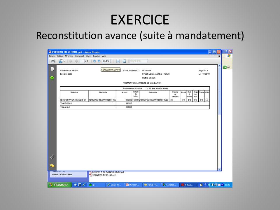 EXERCICE Reconstitution avance (suite à mandatement)