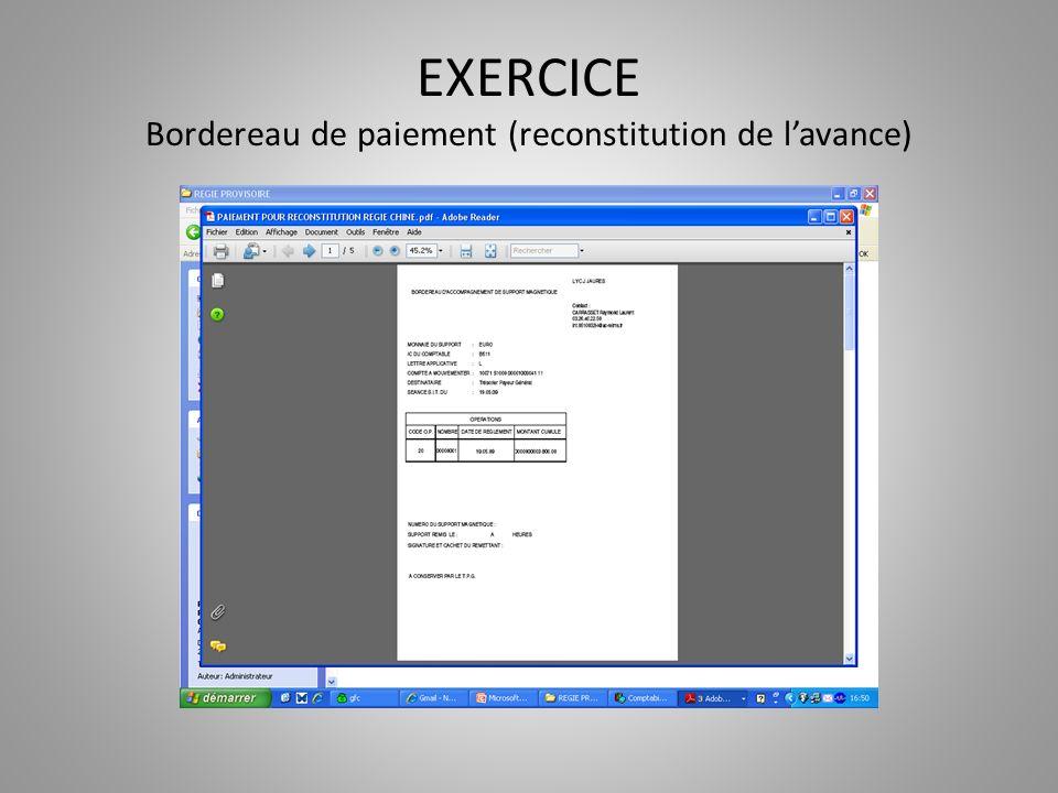 EXERCICE Bordereau de paiement (reconstitution de l'avance)